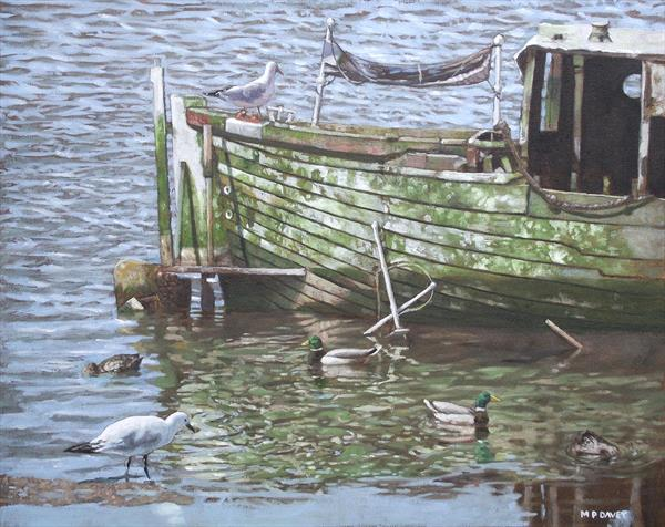 Boat Wreck With Sea Birds by Martin  Davey