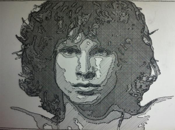 Jim Morrison in wire and nails by Zoe Chapman
