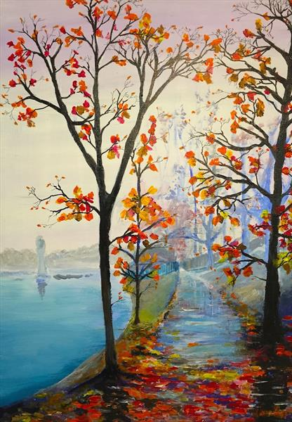 Lakeside Path in Autumn