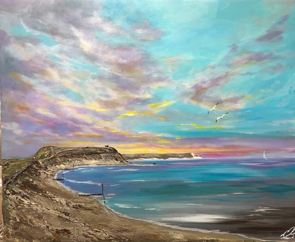 Hengistbury head and the Isle of Wight by Marja Brown