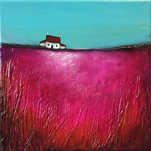 Little house on pink, textured  by JANE PALMER
