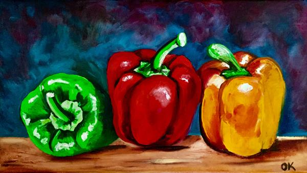 Still life with peppers  by Olga  Koval