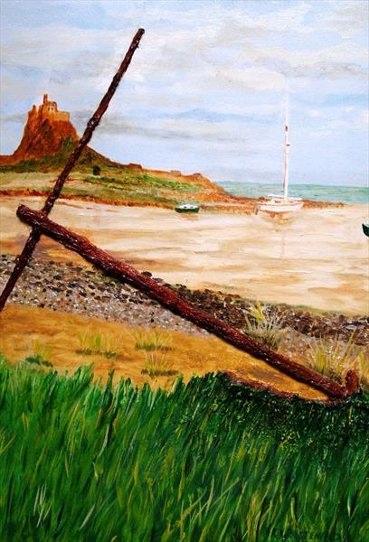 Anchor At Lindisfarne by Anthony Keith Whitehead