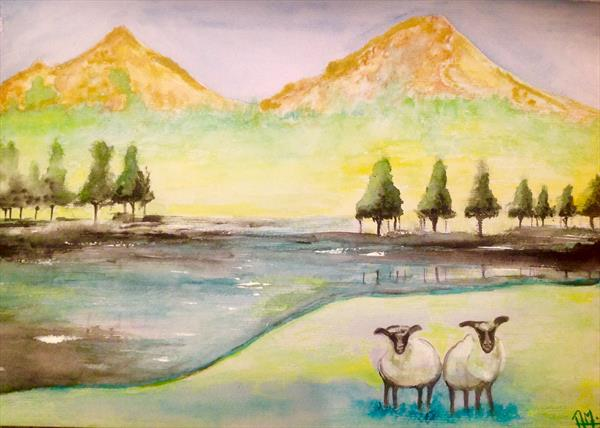 Sheeps in pasture 1 by Anushree Mish