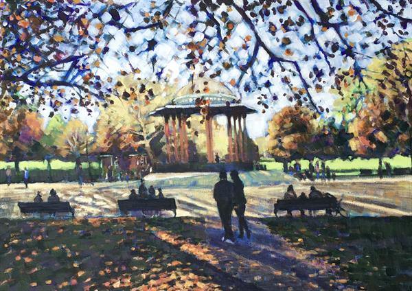 Autumn at the bandstand, Clapham Common  by Louise Gillard
