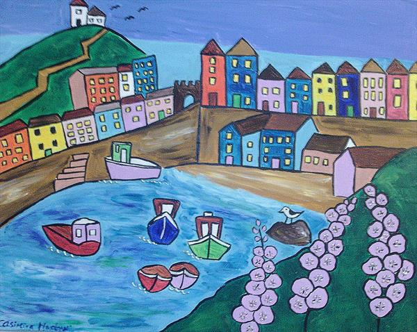Tenby and Hollyhock by the sea by Casimira Mostyn