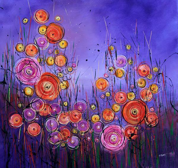 Wonderstorm The New Wave #2 - Large original floral painting by Cecilia Frigati