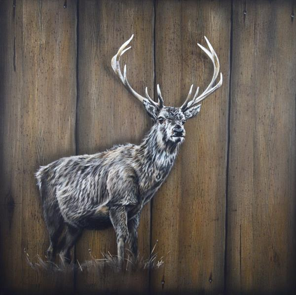 Stag: Stag on Wood Effect Background Painting by Victoria Coleman
