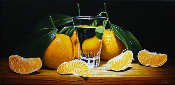 Panoramic clementines with glass by Jean-pierre Walter