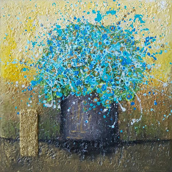 VASE WITH TURQUOISE FLOWERS by Cinzia Mancini