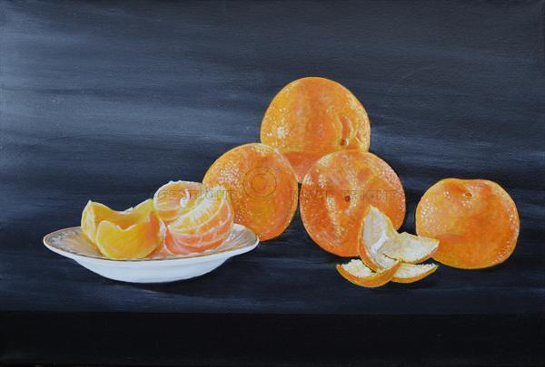 Clementines with a white dish by David Fright