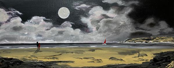 Old Harry Rocks under a Full Moon on a Panoramic Canvas by Marja Brown