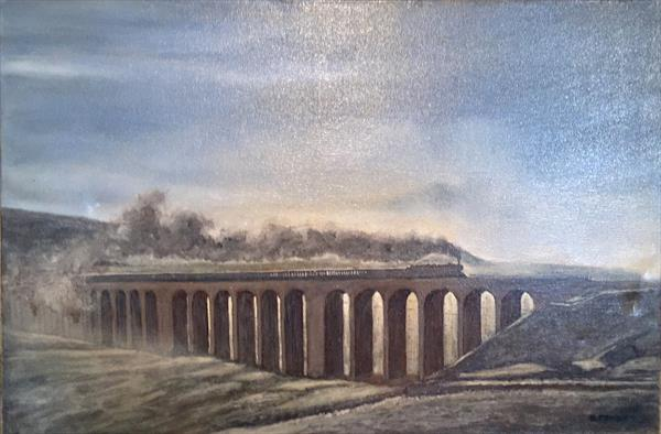 Steam on the Ribblehead Viaduct. by Rod Thackray