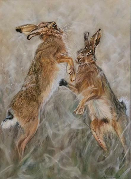 Boxing Hares by Kate Ferguson