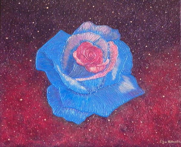 Forever Loyal - abstract spiritual blue rose painting by Liza Wheeler