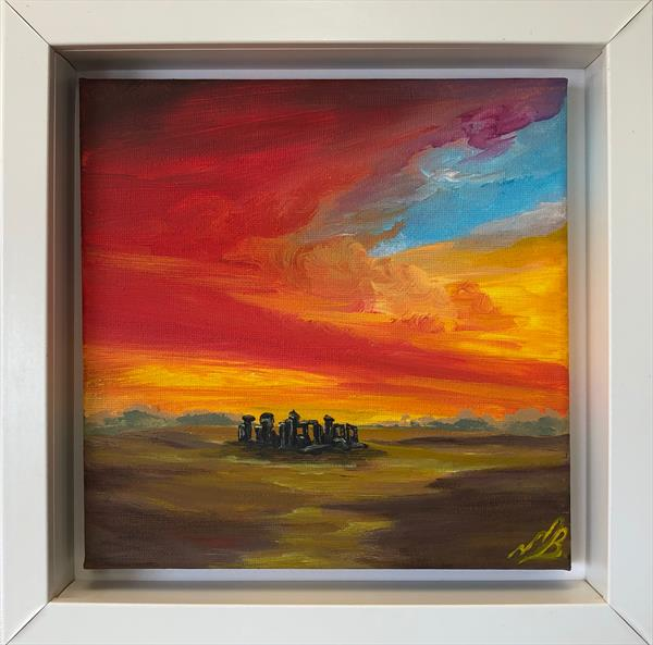 Sunrise over Stone Henge in a White Frame by Marja Brown