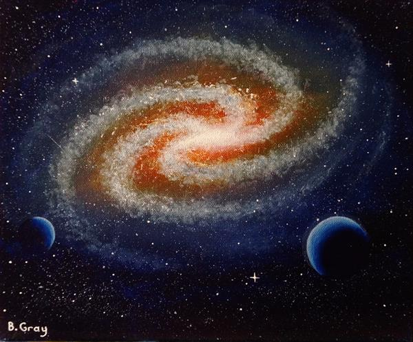 Galaxy Painting 10'' X 12''  by Barry John Gray