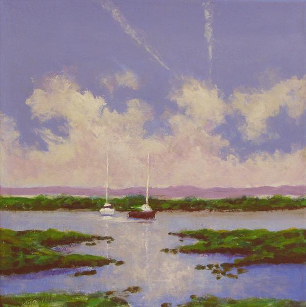Boats on Tollesbury Saltings by Nikki Rosetti