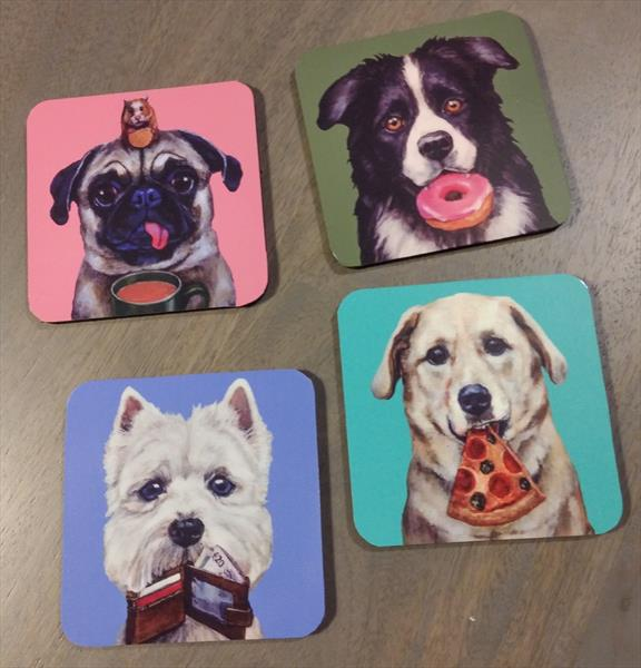 Set of 4 Dog Coasters by Victoria Stanway