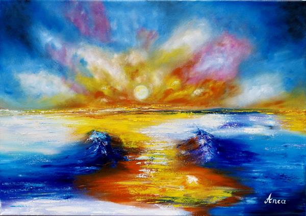 """""""A way out"""" seascape painting  by Florentina(anca)  popescu"""