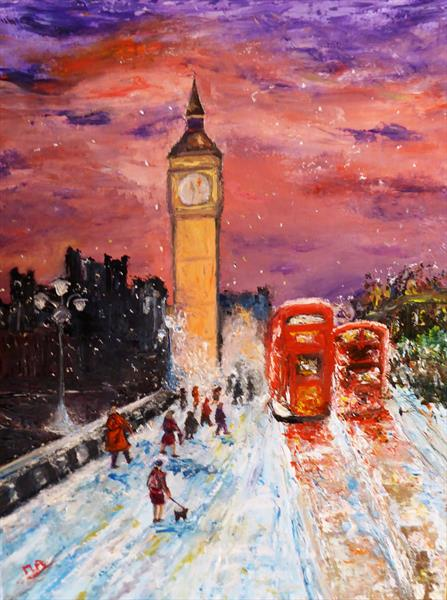 London in the snow by Mary Ann Day