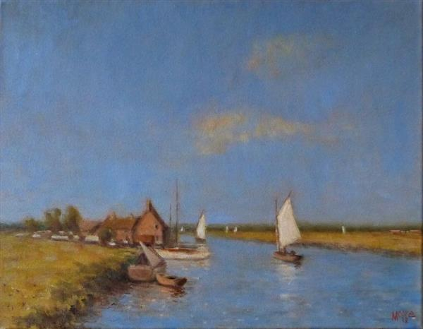 Summer on the Norfolk Broads (after Seago) by David Moore