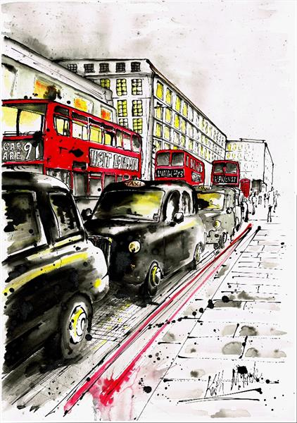 Taxis on the strand (ink)