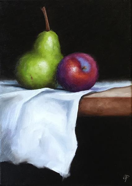 Still Life plum with Pear  by JANE PALMER
