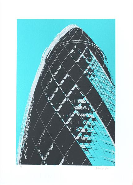 The Gherkin London (turquoise) by Kathryn Edwards