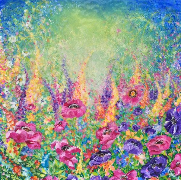 Flowers Foxgloves and Poppies by Janice  Rogers