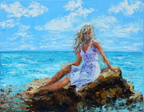 Join me. A woman on the beach. 50x40cm by Vita Schagen