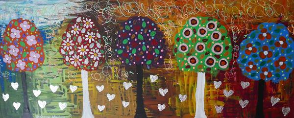 Silver Hearts among Colourful Lollipop Trees by Casimira Mostyn