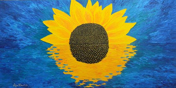 Morning Embrace - abstract sunflower painting by Liza Wheeler