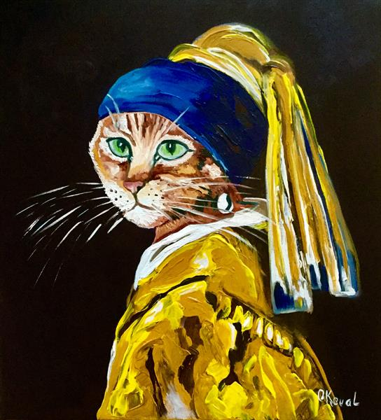 Cat with a pearl earring  by Olga  Koval