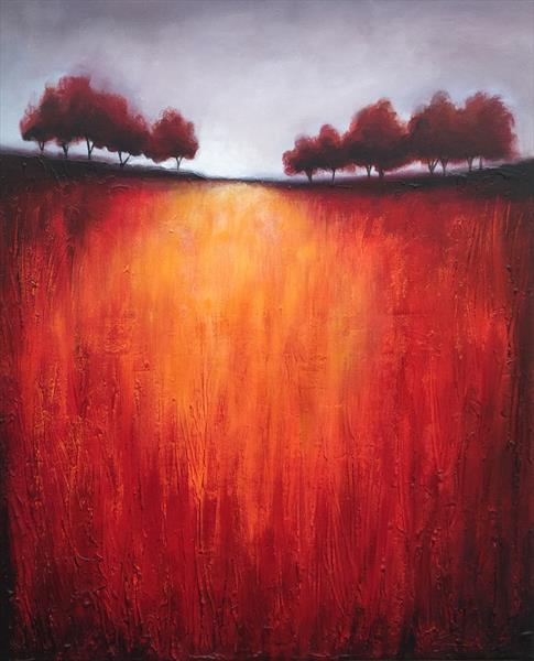Hilltop trees on red  by JANE PALMER