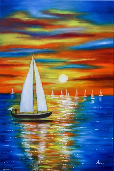 "Seascape painting, ocean art- ""Going home"" by Florentina(anca)  popescu"