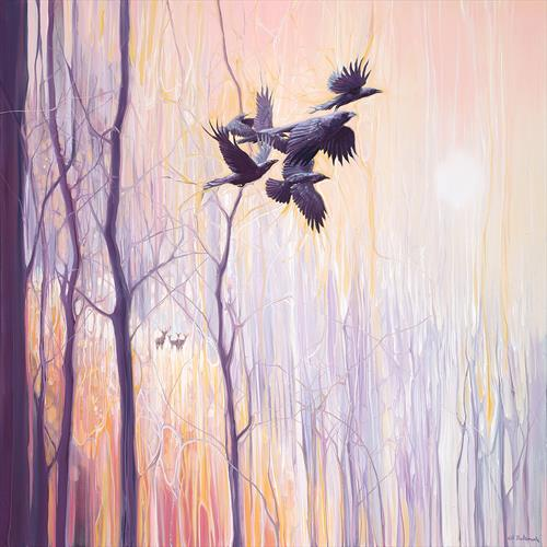 Forest Dynasties - ravens and deer in a winter forest by Gill Bustamante
