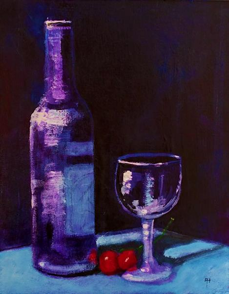 Bottle and Glass by Alan  Harris