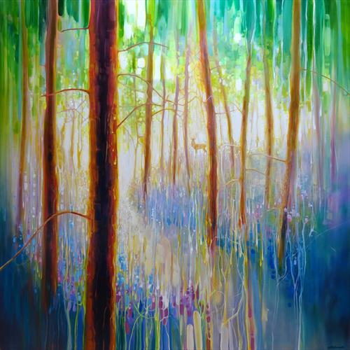 Bluebell Symphony - a very large oil painting of a Spring Woodland by Gill Bustamante