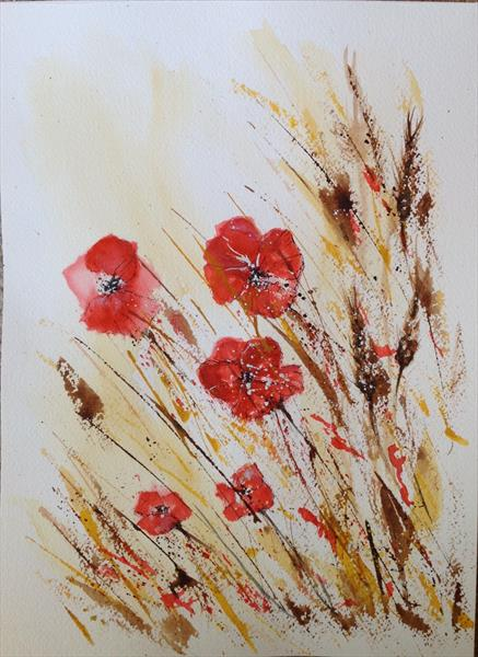 Poppies in the Grass by Tina Hiles