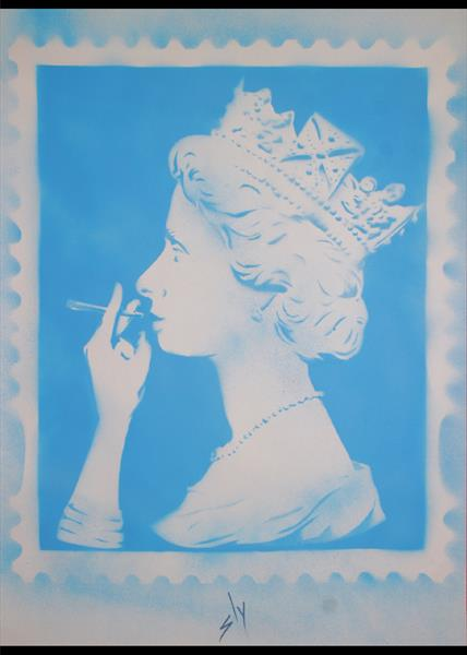 Spliff Queen (blue) (On Plain Paper) by Juan Sly
