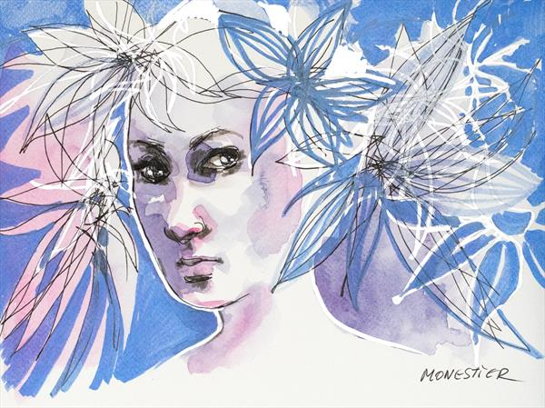 Portrait 5 : Blue girl by Fabienne Monestier