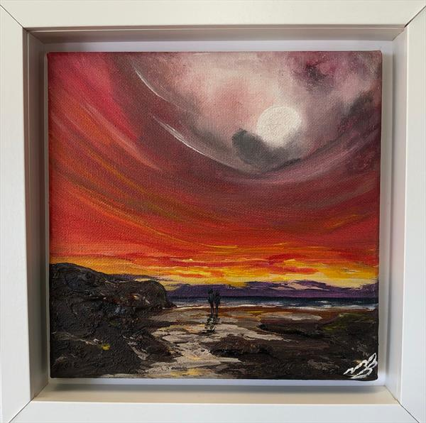 Red Sky and a Full Moon by Marja Brown