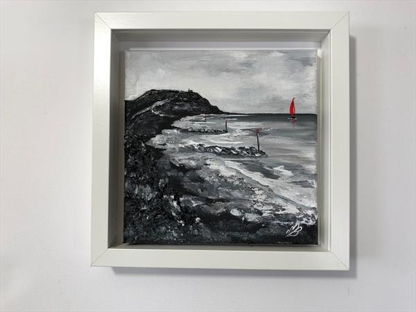Hengistbury Head and a red sailing boat by Marja Brown