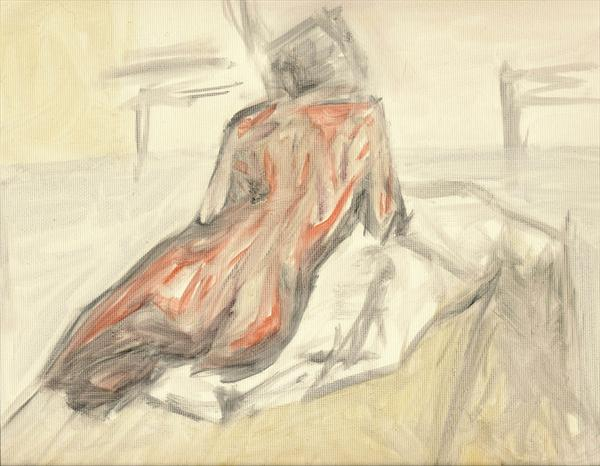 Female Nude Sitting (Red)