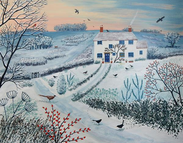 Cottage by Winter Common by Josephine Grundy