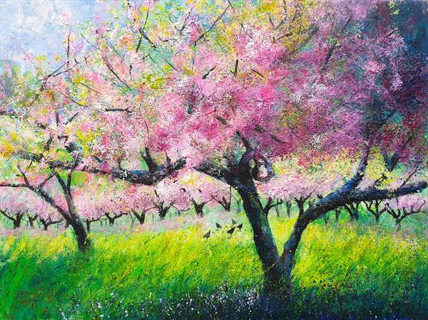 Spring Orchard with Chickens by Teresa Tanner