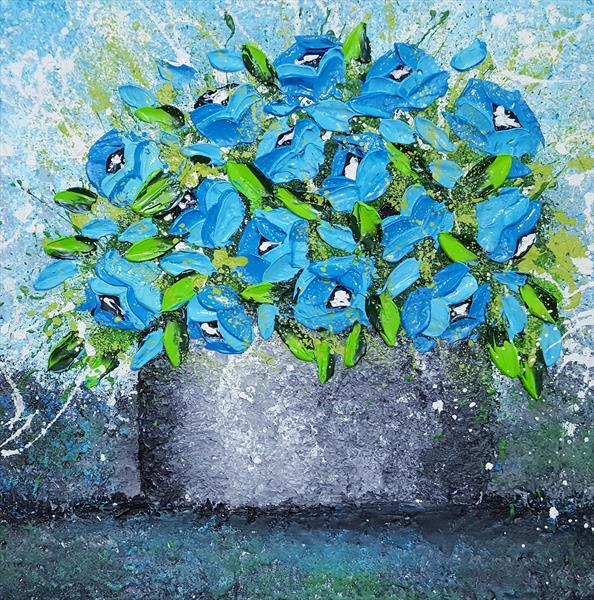 VASE OF BLUE ROSES by Cinzia Mancini