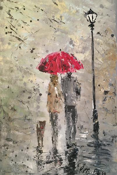 Our little red umbrella walk  by Pippa Buist