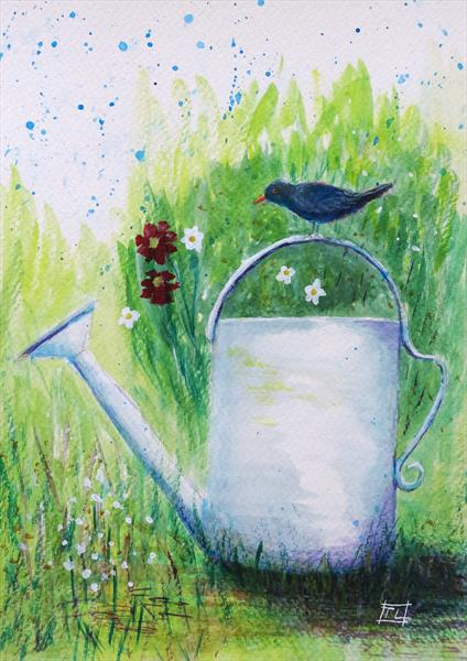 Blackbird & Watering Can by Tony Lilley